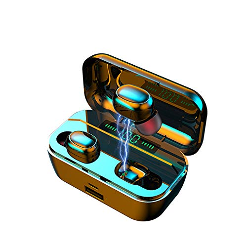 G6S Inalámbrico Auriculares Bluetooth 5.0 Deporte Auricular Portátil Caja de Carga, 3D with IPX7 Impermeabile, Todos los Dispositivos y teléfonos móviles habilitados para Bluetooth (Negro)