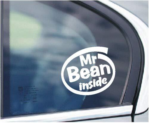 SCOOBY DESIGNS Mr Bean Inside, lustiger Auto-/Lieferwagen-Aufkleber für Fenster, Kofferraum, Mini Cooper