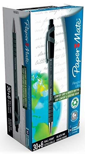 Papermate Flexgrip Ultra Penna a Sfera a Scatto, Punta Media (1.0 mm), Nero, Confezione da 36