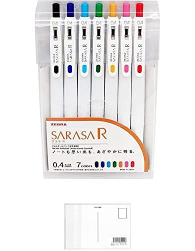 ゼブラ ジェルボールペン サラサR 0.4mm 7色セット JJS29-R1-7C 【まとめ買い 2 パック 】 + 画材屋ドットコム ポストカードA