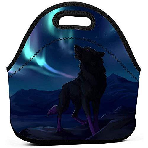 Fantasie Wolf-hooilen kunstneopreen lunchtas Tode geïsoleerde lunchbox levensmiddelenkast-handtassen-tas koelere warme tas
