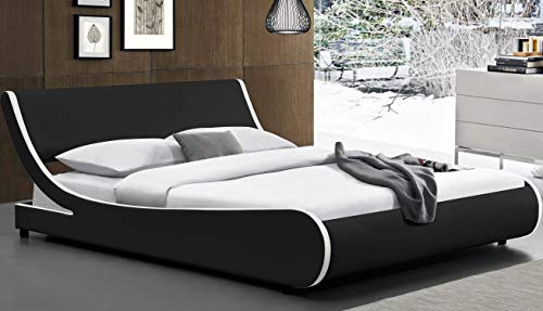 Amolife Modern King Platform Bed Frame with Adjustable Headboard,Mattress Foundation Deluxe Solid Faux Leather Bed Frame with Wood Slat Support (Black with White Border, King)