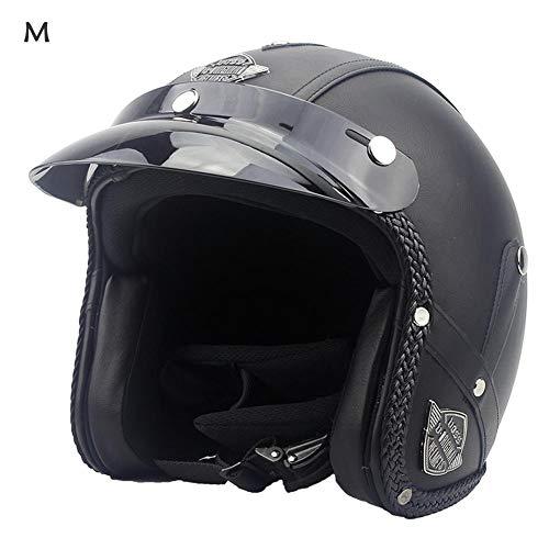 Ausomely Moto-Helme Roller-Helm Vintage Helm Mofa Scooter-Helm Retro Chopper Moto Helm-Rad-Helm Biker Helm-Piloten Jet-Helm (57-61 cm)