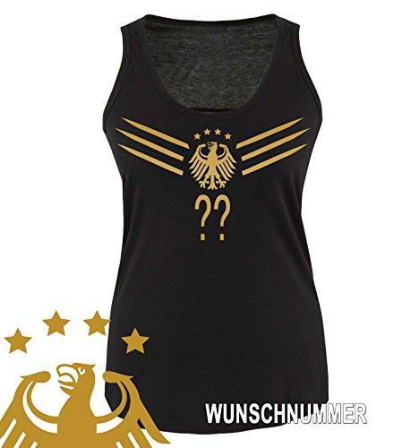 Comedy Shirts - WM 2014 - Deutschland - Deluxe F1-V-Wunsch - Damen Tank-Top - Schwarz/Gold Gr. S