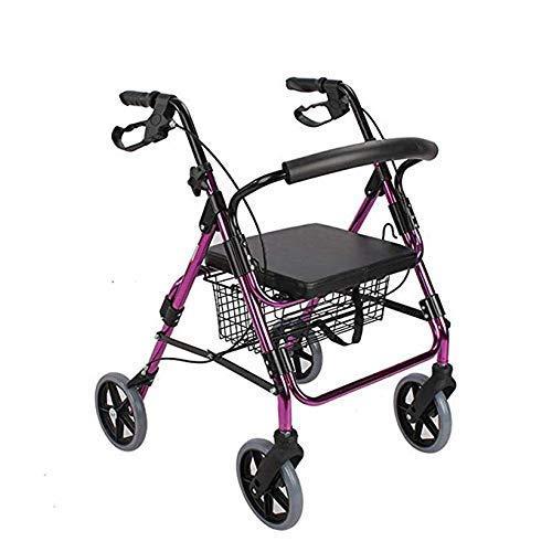 Andador con ruedas de aluminio con ruedas grandes con asiento y respaldo acolchados, andador con ruedas plegable Ayuda de movilidad para adultos, personas mayores y personas mayores discapacitadas