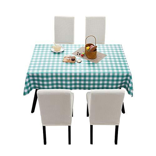 ManMengJi Tovaglia da Tavola Rettangolare in PVC, 137 x 275cm, Tovaglia a Quadri Quadretti Impermeabile, Resistente all'olio, Antimacchia, per Banchetti, Moderne Cucina