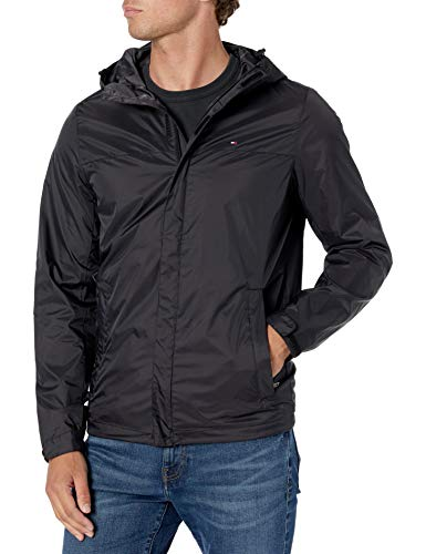 Tommy Hilfiger Men's Waterproof Breathable Hooded Jacket, Black, Medium