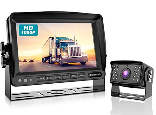 Fookoo Ⅱ HD 1080P Wired Backup Camera System Kit, 7 inch 1080P Reversing Monitor IP69 Waterproof Rear View Camera, Sharp CCD Chip, Parking Lines for Truck/Trailer/Box Truck/RV (FHD1)