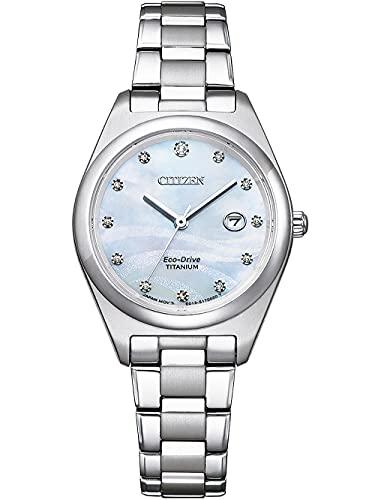Citizen Eco-Drive EW2600-83D - Reloj de pulsera para mujer (titanio y nácara)