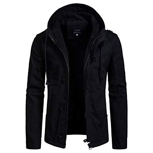 qiangdedianzishang Herrenjacke Weit taillierter Mantel Lässige Baumwolle Kapuzenwindjacke Schwarz M