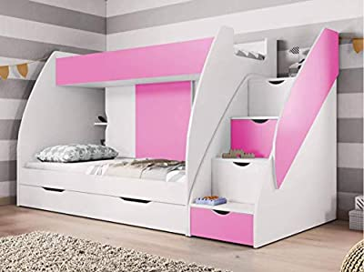 FAST&FREE DELIVERY BUNK BEDS, 2 x NEW BONNELL MATTRESS INCLUDED!!! WITH DRAWERS AND STORAGE IN PINK