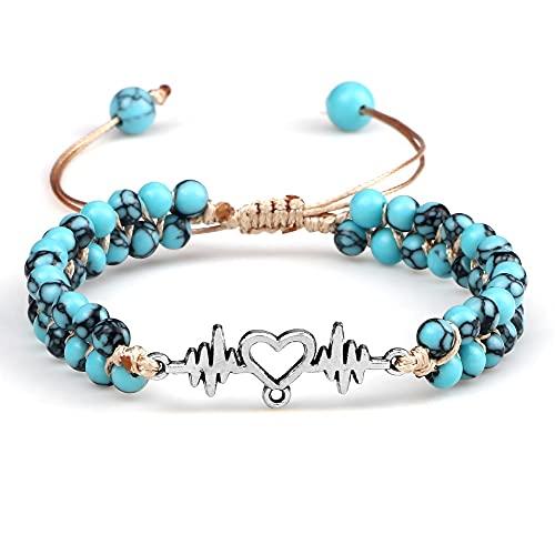 yxx Reiki Pulsera con Cuentas Árbol De Life Natural Stone Turquoise String Braided Brazalets Curación Brazaletes Meditación Joyería (Color : 6)