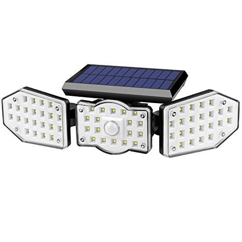 Solarlampen für außen, 62 LED Solarleuchten für Außen Lampe mit Bewegungsmelder Aussen LED Strahler Solar Außenwandleuchten 360° Drehbar IP65 Wasserdichte Wandleuchte für Garten Balkon Garage Zaun