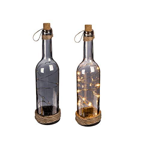 OOTB 137154 Rauchglas-Flasche, mit 10 warmweißen LEDs, 30 x 7 cm