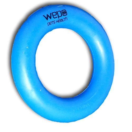 WEPO® Hundespielzeug-Ring/Robuster Naturkautschuk Kauring (Naturgummi) - Ø 9cm - für Welpen - Stabiler Hartgummiring - Welpenspielzeug - Blau
