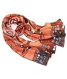 prettystern Donna Seta Sciarpe Belle Arti Sciarpa Della Stampa Art Nouveau Gustav Klimt - Albero della vita (oro-arancio)