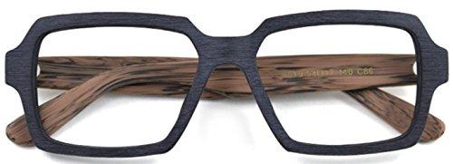 J&L Glasses Retro Klassisches Nerd Klar Hornbrille Brille mit Fensterglas Damen Herren Brillenfassung holz Stil (Black&Brown)