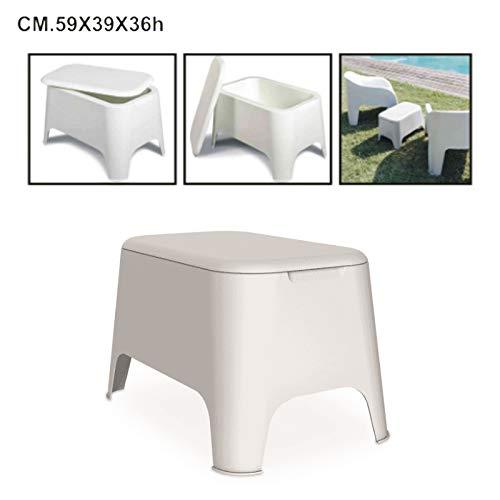 Toomax bijzettafel van kunsthars, afmetingen: 59 x 39 x 36 cm, voor buiten, tuin, met opbergdeksel Wit