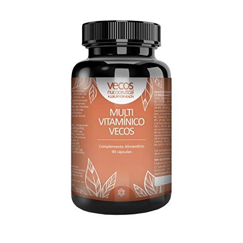 Multivitaminas Vecos para complementar tu dieta y reforzar tu sistema inmune – Complejo vitamínico con 11 minerales y oligoelementos para activar y mantener nuestra energía – 90 cápsulas vegetales