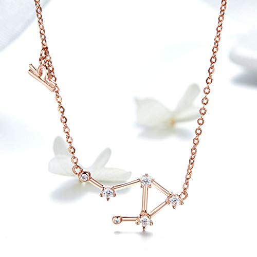 BLUESTEER Women's constellation 925 silver necklace chain long chain ring female jewelry rose gold