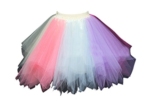 Honeystore Damen's Tutu Unterkleid Rock Abschlussball Abend Gelegenheit Zubehör Hellblau Wassermelone und Violett