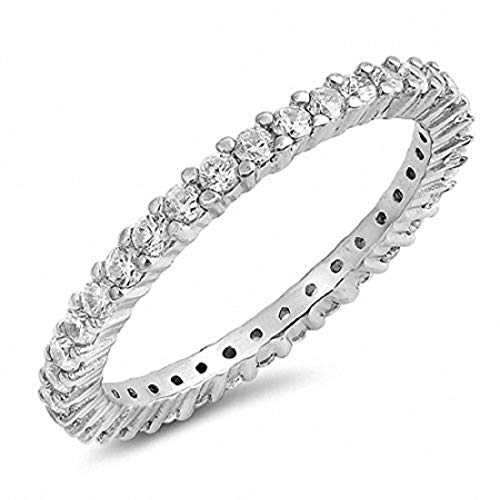 Blue Apple Co. Full Eternity Stackable Wedding Band Ring Simulated Cubic Zirconia 925 Sterling Silver,Size-7