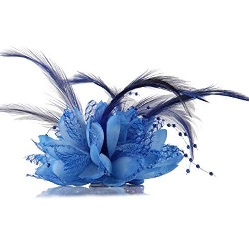 SSB-TOUDAI, Femmes Dames Fleur Plume Perle Corsage Pinces À Cheveux for Les Femmes Fascinator Broche De Cheveux De Mariée Broche Broche (Color : Blue)