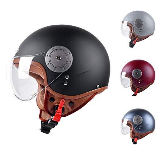 GUOF Casco de Protección Cascos - Casco de moto Casco jet vintage Medio casco Piloto Motor Moto Scooter Biker Retro Cruiser, Casco de motocicleta de cara abierta duradera, resistente al sudor y vent