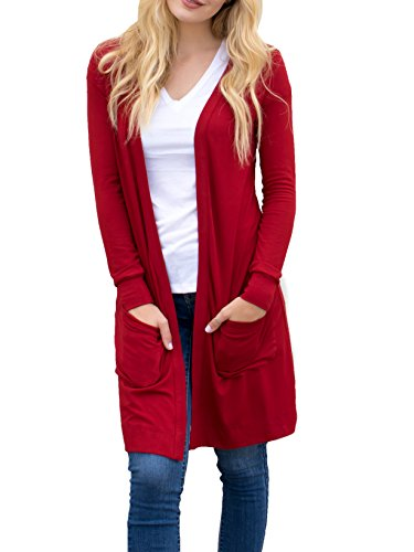 Tickled Teal Women's Soft Long Sleeve Pocket Cardigan (Cranberry, XL)