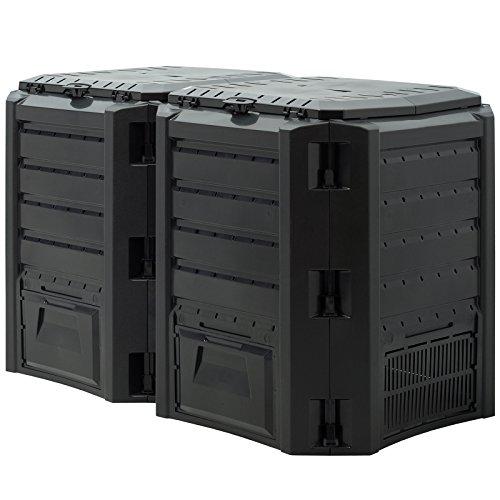 Deuba Composter 800 L compostaggio Veloce 135 x 72 x 83 cm Resistente alle intemperie Pieghevole Coperchio compostiera