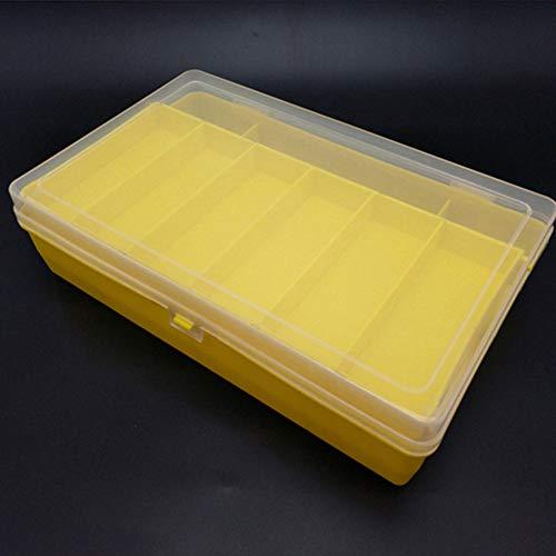 DIYARTS Tackle Box New Double Layers Fishing Lures Line Hook Fishing Tackle Tools Box Storage Case Bag Transparent Plastic Folding Bait Storage Box Fishing Gear (Yellow-L)