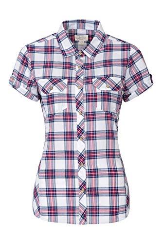 Mountain Warehouse Camisa de algodón Holiday para Mujer - Top de Manga Corta para Mujer, Camisa Informal, Camisa Ligera de Verano para Mujer - para Viajar, Caminar Rojo 36