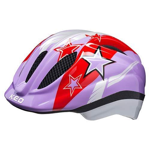 KED Fahrradhelm Meggy II – Kinder- und Jugendhelm in robuster maxSHELL-Technologie und QUICKSAFE-Blinkleuchten - (S (Kopfumfang 46-51 cm), Purple Stars)