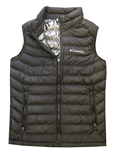 Columbia Mens White Out Omni-Heat Puffer Vest, Black, Medium