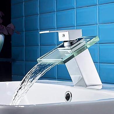 Foto di Auralum rubinetti bagno in vetro miscelatore lavabo a cascata rubinetto monocomando lavandino dell bacino bagno