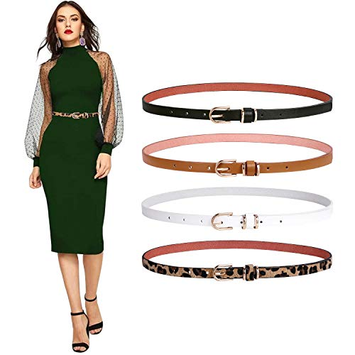 Set of 4 Womens Thin Belts SANSTHS Skinny Leather Belt with Gold Alloy Buckle (Black Brown White gold Leopard,M)