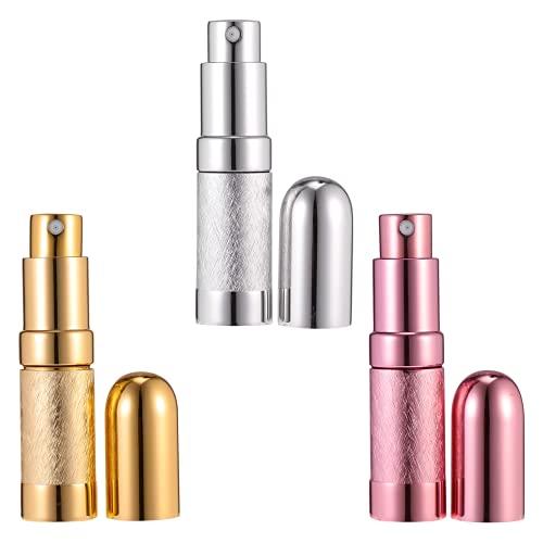 Minkissy Botella de Perfume Recargable de 3 Piezas para Viaje Botella de Pulverización de Perfume Portátil Fácil de Rellenar para Hombres Y Mujeres con Tamaño de Bolsillo de 6Ml