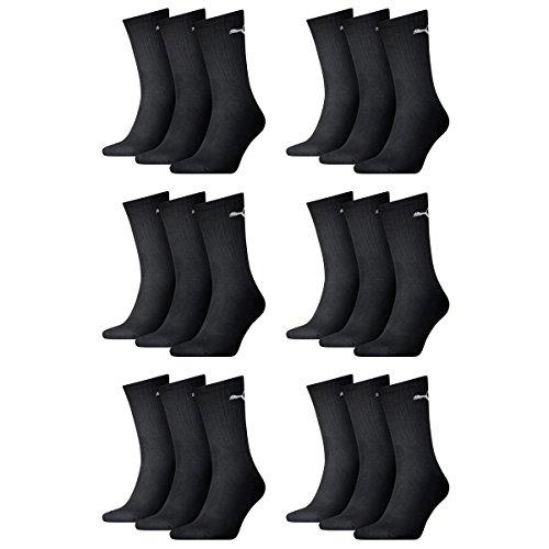 PUMA Unisex Crew Socks Socken Sportsocken MIT FROTTEESOHLE 18er Pack (Schwarz, 43/46)