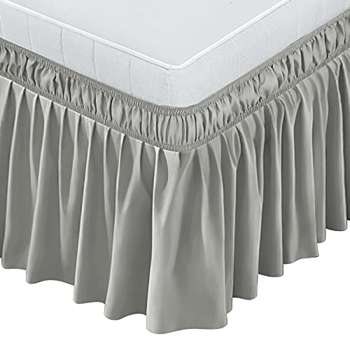 BIGTONE Bed Skirt Wrap Around Elastic Dust Ruffles Solid Color Wrinkle and Fade Resistant with Adjustable Elastic Belt 15 Inch Drop,Queen Size Bed,Light Gray