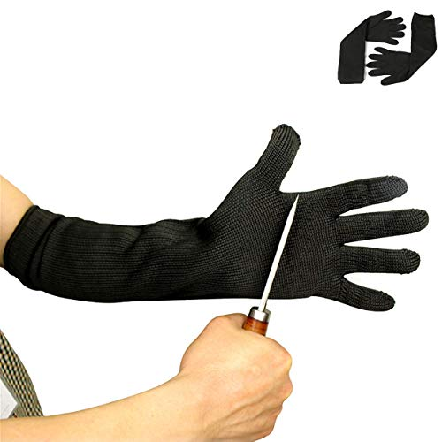 ZLKB Heat and Cut Resistant Arm Guard, Lengthened and Thickened Cut Resistant Gloves, Five-level Protection Knife-proof Steel Wire Gloves, 50cm Wear Resistance, Glass Handling