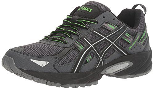ASICS Men's Gel-Venture 5 Trail Runner, Carbon/Silver/Green Gecko, 12 M US