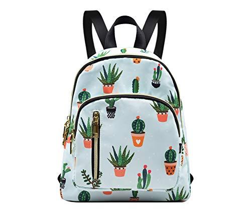 YANAIER Mini Backpack Purse for Women Girls Fashion Anti-theft Waterproof Rucksack Ladies School Bag Green Cactus