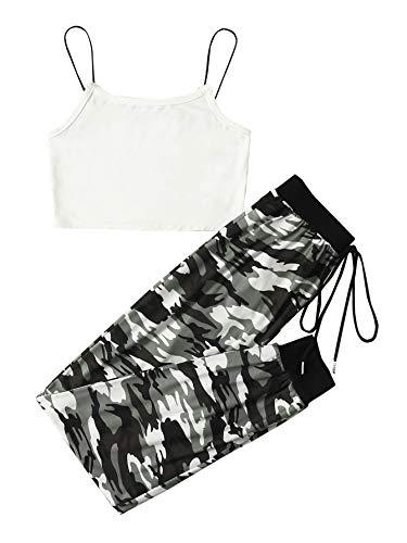SOLY HUX Pantalones de camuflaje para mujer, 2 piezas, camiseta y pantalones deportivos Blanco XS