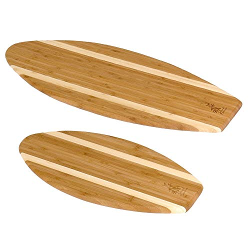 Laguna Bamboo Surf Board Bar Cutting Board Set, Large 23-inch by 7.5-inch & Small 14-inch by 6-inch - Earth Friendly Bamboo with Stylish Honey Stripe Design - by Island Bamboo