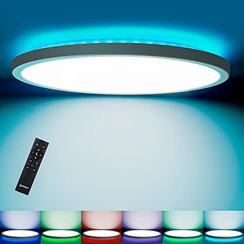 Oeegoo RGB Led Flush Mount Ceiling Light with Remote, 12inch 24W 2400LM, Round Thin Dimmable Ceiling Lamp, Modern Low Profile Ceiling Light Fixture for Bedroom Kitchen Living Room, 3000k-6500k, White