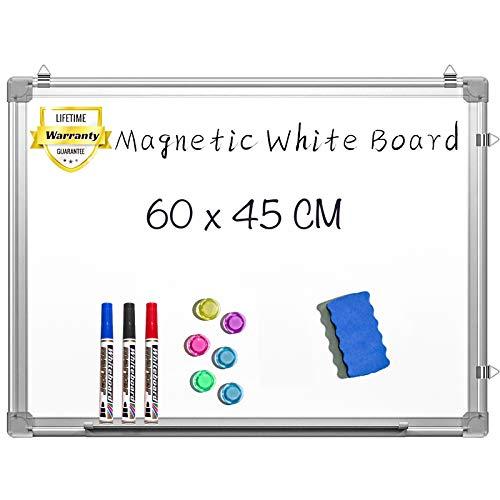 Magnetisches Whiteboard - 60 x 45 cm Magnettafel Beschreibbar Wandmontage Trocken Abwischbar Weißtafel mit Stiftablage, 3 Stifte, 6 Magnete und 1 Schwamm