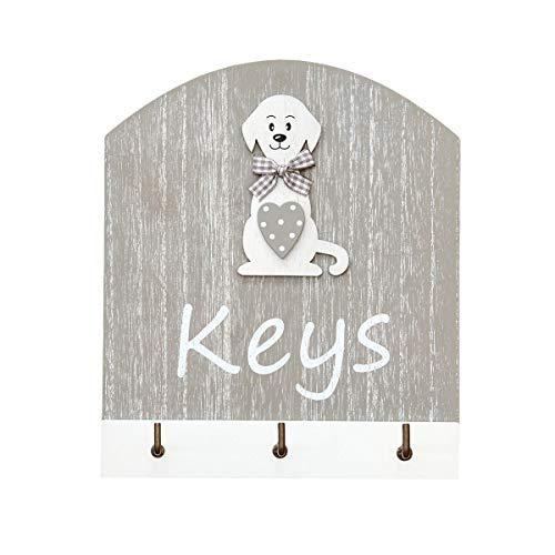 """Ganchos para Llaves, Colgador de Llaves para Pared en Madera, Estante para Llaves, Organizador Colocar Llaves con el Texto """"Keys"""" y 3 Ganchos con Figura de Perro, Gris y Blanco Dog Wall Key Holder"""