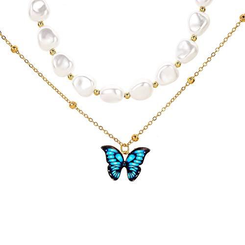 Joyería de moda perla mariposa colgante collar doble capa gargantilla cadenas