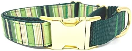 Big Pup Pet Fashion Green Yellow Ranking integrated 1st place Dog Stripe Gold Mar Deluxe Collar