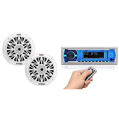 6.5 Inch Dual Marine Speakers - 2 Way Waterproof and Weather Resistant Outdoor Audio Stereo Sound System & Marine Bluetooth Stereo Radio - 12v Single DIN Style Boat in Dash Radio Receiver System